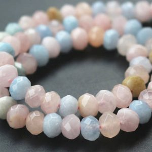 5x8mm Morganite Faceted Rondelle Beads,Natural Faceted Morganite Rondelle Beads,15 inches one starand