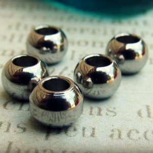 Shop Beads With Large Holes! 6mm Bead, Stainless Steel Large Hole Beads, Set of 10 SST Findings 4.50x6mm  Seamless Beads (002) | Shop jewelry making and beading supplies, tools & findings for DIY jewelry making and crafts. #jewelrymaking #diyjewelry #jewelrycrafts #jewelrysupplies #beading #affiliate #ad