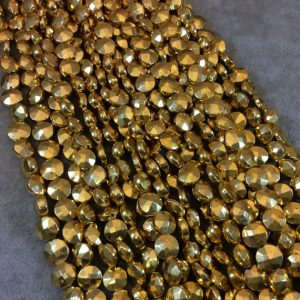 "Shop Pyrite Faceted Beads! 7-8mm Faceted Coin Shaped Gold Plated Pyrite Beads – 12"" Strand (Approximately 43 Beads) – High Quality Hand-Cut Semi-Precious Gemstone 