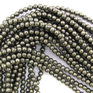 "Shop Pyrite Round Beads! 75% off ,Natural Iron Pyrite Round Beads, 6mm, 8mm, 10mm,Smooth Round, Silver Grey, Gemstone beads, 15.5"" Full Strand, 1/2/10 strands 