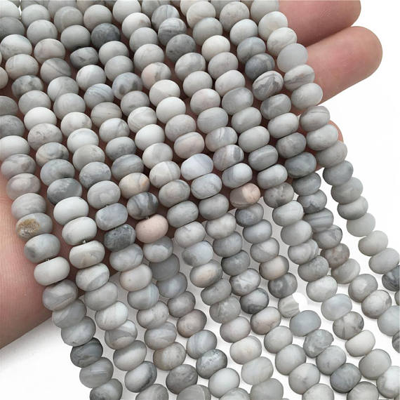 Matte White Lace Agate Rondelle Beads, Rondelle Stone Beads, Gemstone Beads
