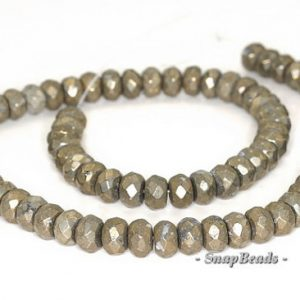 Shop Pyrite Rondelle Beads! 8x5mm Palazzo Iron Pyrite Gemstone Faceted Rondelle 8x5mm Loose Beads 7.5 inch Half Strand (90144811-418) | Natural genuine rondelle Pyrite beads for beading and jewelry making.  #jewelry #beads #beadedjewelry #diyjewelry #jewelrymaking #beadstore #beading #affiliate #ad