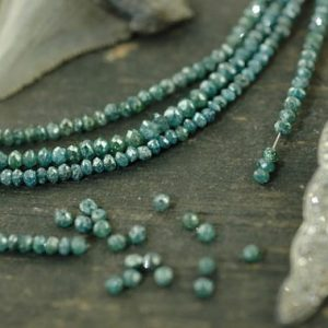 "Shop Diamond Rondelle Beads! A Girls' Best Friend: Natural Blue Diamonds Faceted Rondelle Beads / 15 beads 2×1.5mm, 1"" / Organic Gemstone, Jewelry Making Supplies 