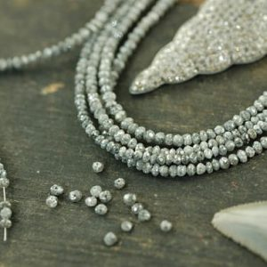 "A Girls' Best Friend: Natural Grey Diamonds Faceted Rondelle Beads / 15 beads 2×1.5mm, 1"" / Organic Gemstone, Jewelry Making Supplies 