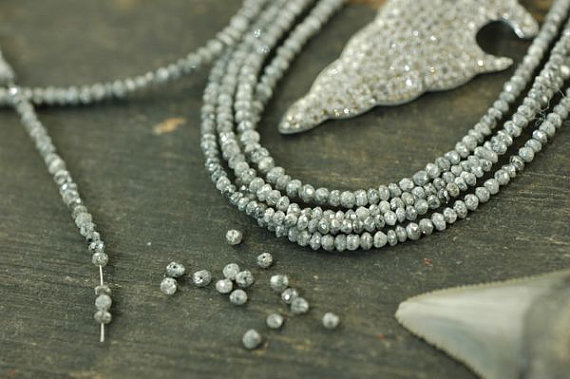 """A Girls' Best Friend: Natural Grey Diamonds Faceted Rondelle Beads / 15 Beads 2x1.5mm, 1"""" / Organic Gemstone, Jewelry Making Supplies"""