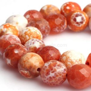 Shop Agate Faceted Beads! U Pick Natural Faceted Red Fire Agate Gemstone 4mm 6mm 8mm 10mm Loose Round Beads 15 inch Per Strand for Jewelry Craft Making GH4 | Natural genuine faceted Agate beads for beading and jewelry making.  #jewelry #beads #beadedjewelry #diyjewelry #jewelrymaking #beadstore #beading #affiliate #ad