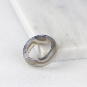 Shop Agate Rings! Gray Agate, Raw Stone Ring, Giftable Agate Ring, Gray Agate Jewelry, Agate Ring Men, Chunky Rings, Stone Ring Band, Gray Ring | Natural genuine Agate rings, simple unique handcrafted gemstone rings. #rings #jewelry #shopping #gift #handmade #fashion #style #affiliate #ad