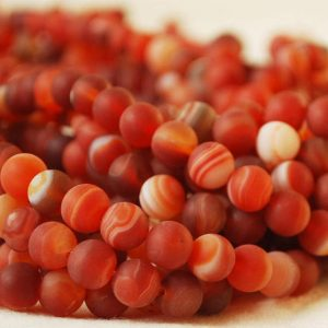 "Shop Red Agate Beads! High Quality Grade A Frosted Red Banded Agate Semi-precious Gemstone Round Beads – 4mm, 6mm, 8mm, 10mm sizes – Approx 15.5"" strand 