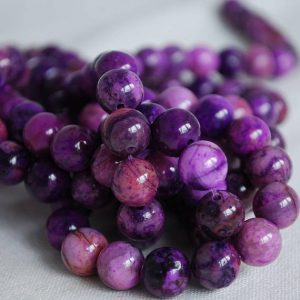 "Shop Crazy Lace Agate Beads! High Quality Grade A Purple Crazy Lace Agate (dyed) Semi-precious Gemstone Round Beads – 4mm, 6mm, 8mm, 10mm sizes – 16"" strand 