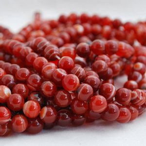 "Shop Agate Round Beads! High Quality Red Banded Agate Semi-precious Gemstone Round Beads – 4mm, 6mm, 8mm, 10mm sizes – 15.5"" strand 