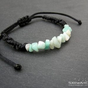 Shop Amazonite Bracelets! Amazonite Bracelet, Braided Blue Cuff, Bar Wristband, Emf Protection Stone, Yoga Jewellery, Men Jewelry, Valentines Gift, For Him, For Her | Natural genuine gemstone jewelry in modern, chic, boho, elegant styles. Buy crystal handmade handcrafted artisan art jewelry & accessories. #jewelry #beaded #beadedjewelry #product #gifts #shopping #style #fashion #product