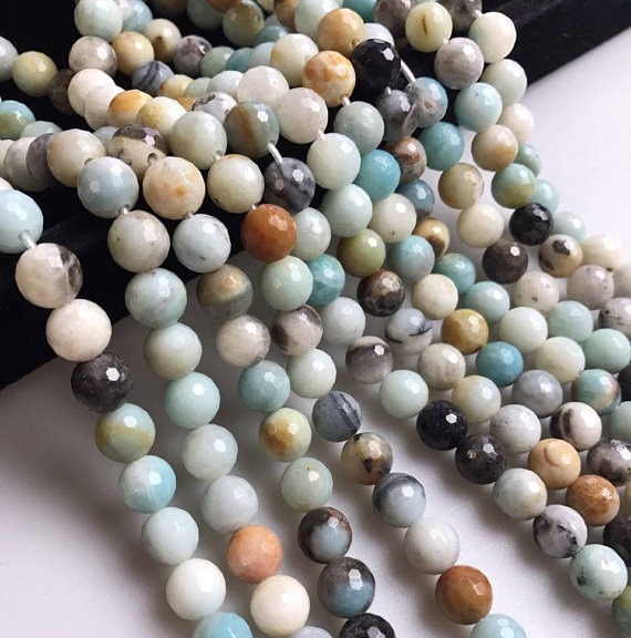 "2.0mm Hole Amazonite Faceted Round Beads 6mm 8mm 10mm 12mm Approx 15.5"" Strand"