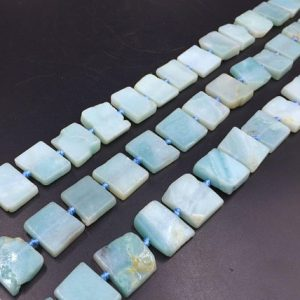 "Shop Amazonite Bead Shapes! Rectangle Amazonite Beads Flat Square Amazonite Slice Slab Beads Light Green Amazonite Gemstone Beads 13-18mm 15.5"" full strand 