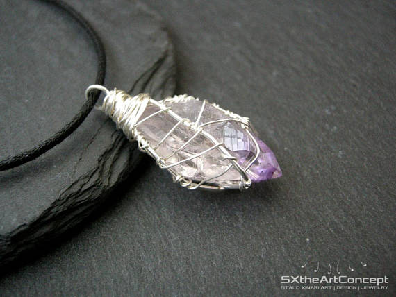 Amethyst Point Pendant, February Birthstone, Chunky Stone Necklace, Purple Rough Raw Crystal, Protection Stone, Gift For Him, For Her