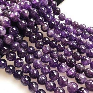 Shop Amethyst Beads! Natural Amethyst Smooth Round Loose Beads Size 4/6/8/10/12mm Approx 15.5'' Long per Strand. R-S-AME-0089 | Natural genuine gemstone beads for making jewelry in various shapes & sizes. Buy crystal beads raw cut or polished for making handmade homemade handcrafted jewelry. #jewelry #beads #beadedjewelry #product #diy #diyjewelry #shopping #craft #product