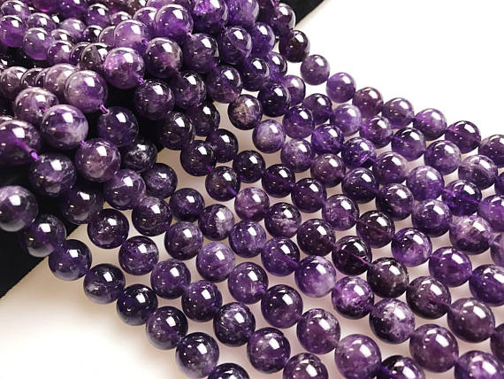 "Natural Amethyst Smooth Round Beads 4mm 6mm 8mm 10mm 12mm Approx 15.5"" Strand"