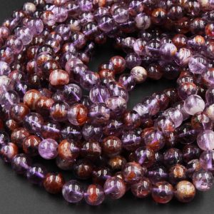 "Super 7 Crystal Element Natural Phantom Amethyst Cacoxenite Round Beads 6mm 7mm 8mm 9mm Round Beads Powerful Healing Stone Rock 16"" Strand 