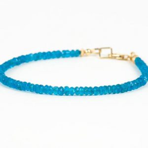 Shop Apatite Bracelets! Apatite Bracelet, Neon Blue Apatite Natural Gemstone Delicate Bracelet – Handmade Gemstone Jewelry | Natural genuine Apatite bracelets. Buy crystal jewelry, handmade handcrafted artisan jewelry for women.  Unique handmade gift ideas. #jewelry #beadedbracelets #beadedjewelry #gift #shopping #handmadejewelry #fashion #style #product #bracelets #affiliate #ad