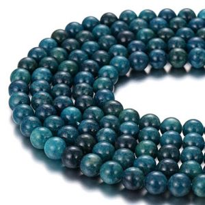 "Dark Blue Apatite Smooth Round Beads 4mm 6mm 8mm 10mm 12mm 15.5""Strand 