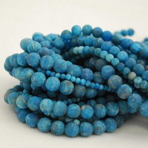 "High Quality Grade A Natural Apatite (Teal Blue) Semi-precious Gemstone FROSTED / MATTE Round Beads – 4mm, 6mm, 8mm, 10mm sizes – 16"" strand"