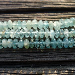 Aquamarine rondelle beads 4-6mm (ETB00707) Unique jewelry/Vintage jewelry/Gemstone necklace | Natural genuine rondelle Aquamarine beads for beading and jewelry making.  #jewelry #beads #beadedjewelry #diyjewelry #jewelrymaking #beadstore #beading #affiliate #ad
