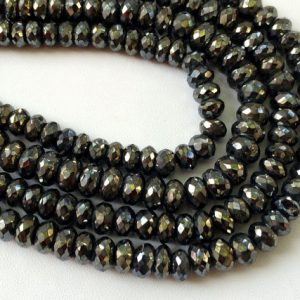 Shop Pyrite Necklaces! Black Pyrite Beads, Black Pyrite Faceted Rondelles, Pyrite Necklace, 6mm Beads, 7 Inch Strand, Pyrite Wholesale | Natural genuine Pyrite necklaces. Buy crystal jewelry, handmade handcrafted artisan jewelry for women.  Unique handmade gift ideas. #jewelry #beadednecklaces #beadedjewelry #gift #shopping #handmadejewelry #fashion #style #product #necklaces #affiliate #ad