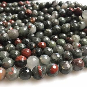 Shop Bloodstone Beads! Natural Africa Bloodstone Faceted Round Size 6mm/8mm/10mm Loose Beads 15.5'' Long Per Strand For Jewelry Making | Natural genuine faceted Bloodstone beads for beading and jewelry making.  #jewelry #beads #beadedjewelry #diyjewelry #jewelrymaking #beadstore #beading #affiliate #ad