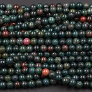 "Shop Bloodstone Beads! Bloodstone 6mm Round Beads Superior Quality~ Real Genuine 100% Natural Bloodstone Full 16"" Strand 