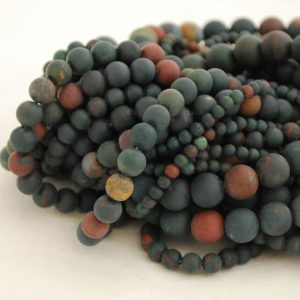 "Shop Bloodstone Beads! High Quality Grade A Natural Bloodstone Semi-precious Gemstone FROSTED / MATTE Round Beads – 4mm, 6mm, 8mm, 10mm sizes – Approx 16"" strand 