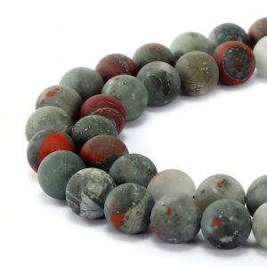 "African Bloodstone Matte Round Beads 4mm 6mm 8mm 10mm 12mm 15.5"" Strand 