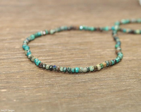 Chrysocolla Necklace, Beaded, Stacking, Chrysocolla Jewelry, Gemstone Jewelry