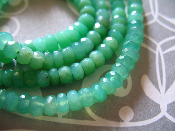 "Chrysoprase Loose Gemstone Rondelle Roundels Beads / Half Strand, 6.5"" Inch, Luxe Aaa, 3-3.5 Mm / Faceted Light Green Gems May Birthstone Tr"
