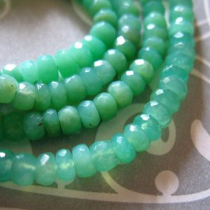 Chrysoprase Rondelles, Luxe Aaa, 3-4 Mm, Faceted, 1 / 4 Strand, Natural, Australian May Birthstone Tr | Natural genuine faceted Chrysoprase beads for beading and jewelry making.  #jewelry #beads #beadedjewelry #diyjewelry #jewelrymaking #beadstore #beading #affiliate #ad