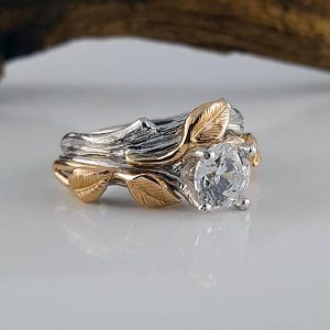 1ct Two Tone Gold Round Moissanite Engagement Ring set, Wedding Ring Set, Bridal Ring Set, Engagement Stacking Ring Sculpted by Dawn | Natural genuine Gemstone rings, simple unique alternative gemstone engagement rings. #rings #jewelry #bridal #wedding #jewelryaccessories #engagementrings #weddingideas #affiliate #ad