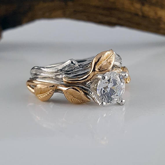 1ct Two Tone Gold Round Moissanite Engagement Ring Set, Wedding Ring Set, Bridal Ring Set, Engagement Stacking Ring Sculpted By Dawn