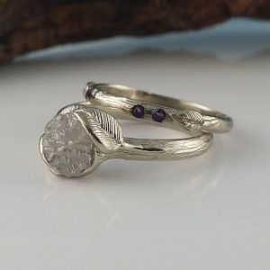 Shop Raw Diamond Engagement Rings! Leaf and Twig Rough Diamond Engagement Ring Set with 4 Gemstones, Wedding Ring Set, White Silvery Unique Wedding Ring by Dawn Vertrees | Natural genuine Diamond rings, simple unique alternative gemstone engagement rings. #rings #jewelry #bridal #wedding #jewelryaccessories #engagementrings #weddingideas #affiliate #ad