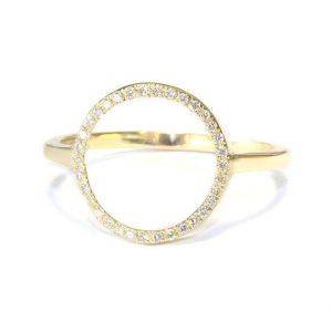Shop Diamond Rings! Circle Diamond Ring, Circle of life diamond ring, Circle Silhouette Round Gold Diamond Ring, Geometric Diamond Gold Ring, Diamonds Open Ring | Natural genuine Diamond rings, simple unique handcrafted gemstone rings. #rings #jewelry #shopping #gift #handmade #fashion #style #affiliate #ad