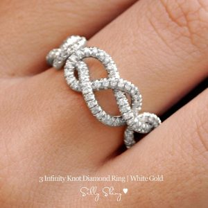 Shop Diamond Jewelry! Infinity Love Knot Diamond Ring, Triple Infinity Knot Ring, 0.75 CT Diamond Wedding Band, New Mon,Cluster Ring, Art Deco Ring, Infinity Ring | Natural genuine Diamond jewelry. Buy handcrafted artisan wedding jewelry.  Unique handmade bridal jewelry gift ideas. #jewelry #beadedjewelry #gift #crystaljewelry #shopping #handmadejewelry #wedding #bridal #jewelry #affiliate #ad