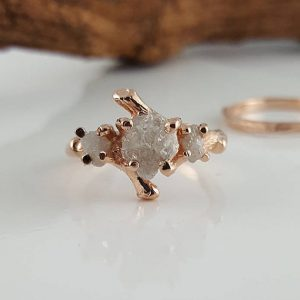 Shop Raw Diamond Engagement Rings! Rough Uncut Three Diamond Twig Engagement Ring, Diamond Branch Style Bridal Set, Custom Made-to-Order, Hand Sculpted by Dawn Vertrees | Natural genuine Diamond rings, simple unique alternative gemstone engagement rings. #rings #jewelry #bridal #wedding #jewelryaccessories #engagementrings #weddingideas #affiliate #ad