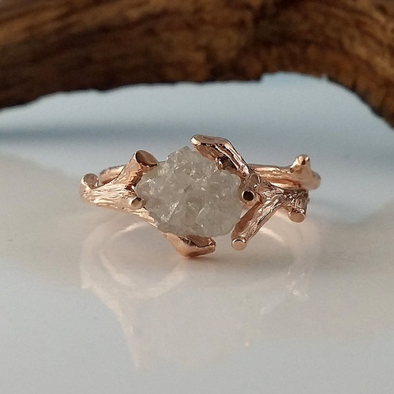 Rose Gold Bridal Set With White Raw Diamond, Engagement Ring, Diamond Wedding Ring Set Hand Sculpted By Dawn Vertrees Twig Engagement Rings
