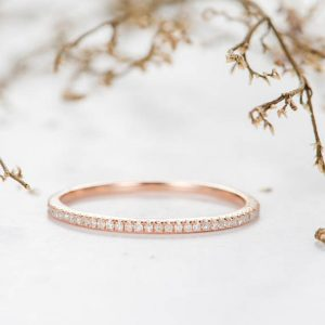 Shop Dainty Jewelry! Rose Gold Wedding Band Half Eternity Diamond Band Women Stackable Ring Minimalist Delicate Matching Dainty Bridal Promise Anniversary Gift | Natural genuine Gemstone jewelry. Buy handcrafted artisan wedding jewelry.  Unique handmade bridal jewelry gift ideas. #jewelry #beadedjewelry #gift #crystaljewelry #shopping #handmadejewelry #wedding #bridal #jewelry #affiliate #ad