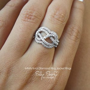 Diamond Wedding Ring Set, Infinity Knot Ring, Diamond Engagement Ring, Womens Wedding Bands, Infinity Ring, Solid Gold Ring.