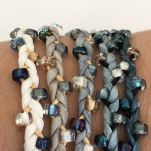 Shop Learn Beading - Books, Kits & Tutorials! DIY Silk Wrap Bracelet or Silk Cord Kit DIY Craft Kit DIY Bracelet You Make Five Adult Friendship Bracelets in Winter Wonderland Palette | Shop jewelry making and beading supplies, tools & findings for DIY jewelry making and crafts. #jewelrymaking #diyjewelry #jewelrycrafts #jewelrysupplies #beading #affiliate #ad