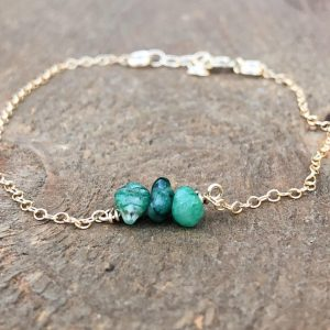 Dainty Emerald Birthstone Bracelet – May Birthstone Jewelry – Raw Emerald Bracelet – Emerald Jewelry – Gift For Her – May Birthday Gift | Shop beautiful natural gemstone jewelry in modern, chic, boho, elegant styles. Buy crystal handmade handcrafted artisan art jewelry & accessories. #jewelry #beaded #beadedjewelry #product #gifts #shopping #style #fashion