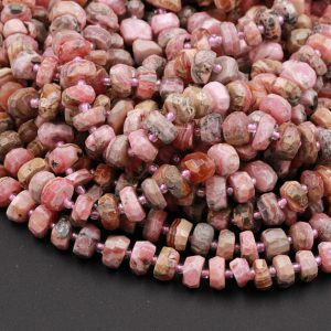 "Shop Rhodochrosite Beads! Faceted Rhodochrosite Rondelle 10mm Large Natural Pink Brown Rhodochrosite Large Faceted Rondelle Nugget Beads Red Pink Gemstone 16"" Strand 
