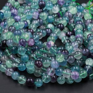 "Natural Fluorite Beads 4mm 6mm 8mm 10mm Round Polished Finish Purple Green Blue Fluorite Gemstone Beads 16"" Strand 