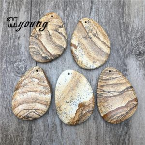 Shop Picture Jasper Bead Shapes! Freeform Picture Jasper Slice Pendant Beads, Drilled Picture Stone Slab Charms,  GP040318 | Natural genuine other-shape Picture Jasper beads for beading and jewelry making.  #jewelry #beads #beadedjewelry #diyjewelry #jewelrymaking #beadstore #beading #affiliate #ad