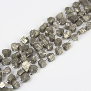 Shop Pyrite Beads! Full strand Rock Rough Iron Pyrite Center Drilled Freeform Nugget Loose Beads for Bracelet,Raw Iron Gemstones Cut Cube Shape Chips Pendants | Natural genuine beads Pyrite beads for beading and jewelry making.  #jewelry #beads #beadedjewelry #diyjewelry #jewelrymaking #beadstore #beading #affiliate #ad