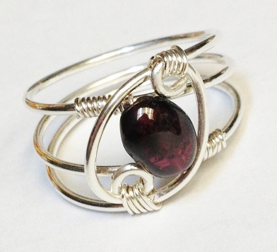 Garnet Ring, Garnet Jewelry, January Birthstone, Sterling Rings For Women, Silver Ring, Sterling Silver Ring,