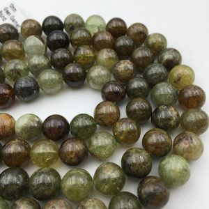 "Shop Garnet Beads! Genuine Green Garnet Smooth Round Gemstone Loose Beads Size 6mm/8mm/10mm/12mm Approx 15.5"" Long per Strand 